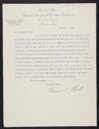 Francis E. Clark typed letter signed to Mary Emma Woolley, 1902 November 5