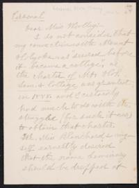 Anna C. Edwards autograph letter signed to Mary Emma Woolley, 1902