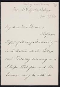 Mary Emma Woolley autograph letter signed to Eliza Miner Garman, 1903 January 9