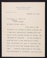 Mary Emma Woolley typed letter signed to Abbot Jr., Colonel C. W. , 1903 January 19
