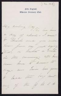 Mary Augusta (Ferris) Woolley autograph letter signed to Mary Emma Woolley, 1903 February 1