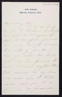 Mary Augusta (Ferris) Woolley autograph letter signed to Mary Emma Woolley, 1903 March 26