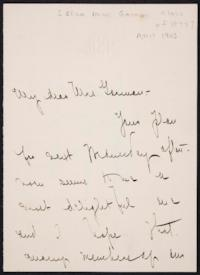 Mary Emma Woolley autograph letter signed to Eliza Miner Garman, 1903 April 20
