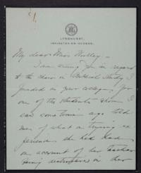 Helen Miller Gould Shephard autograph letter signed to Mary Emma Woolley, 1903 May 16