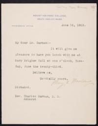 Mary Emma Woolley typed letter signed to Charles Edward Garman, 1903 June 16