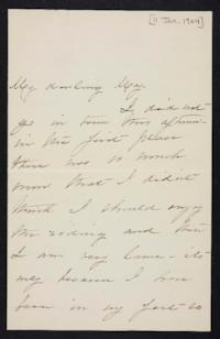 Mary Augusta (Ferris) Woolley autograph letter signed to Mary Emma Woolley, 1904 January 11