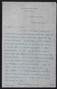 "Mary Emma Woolley typed letter signed to ""Miss Guilford"", 1904 March 24"