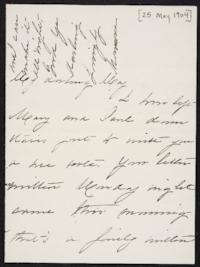 Mary Augusta (Ferris) Woolley autograph letter signed to Mary Emma Woolley, 1904 May 25