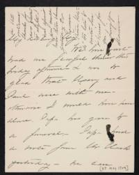 Mary Augusta (Ferris) Woolley autograph letter signed to Mary Emma Woolley, 1904 May 27
