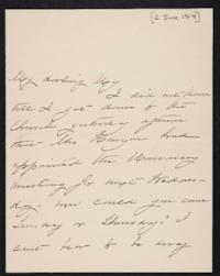 Mary Augusta (Ferris) Woolley autograph letter signed to Mary Emma Woolley, 1904 June 2