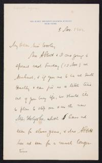 Lyman Abbot autograph letter signed to Mary Emma Woolley, 1904 November 5