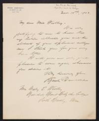 Frank Damrosch autograph letter signed to Mary Emma Woolley, 1904 November 14