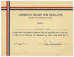 Certificate from the American Relief for Holland