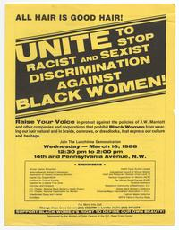 """Unite to Stop Racist and Sexist Discrimination Against Black Women!"" flyer"