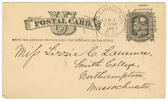Postal card from Amos Edward Lawrence to Elizabeth Crocker Lawrence