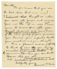 Letter from Samuel F. Clarke (1851-1928) to Smith College Class of 1883