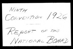 Conventions, ninth YWCA of the U.S.A. records, Record Group 11. Microfilmed headquarters files