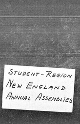 Student New England region YWCA of the U.S.A. records, Record Group 11. Microfilmed central files