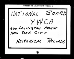 Community Division YWCA of the U.S.A. records, Record Group 11. Microfilmed central files