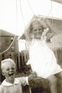 Warren and Sylvia Plath on a swing