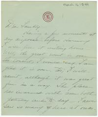 Correspondence from Marjory Gane (class of 1901) to her family