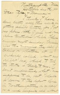 Correspondence from Marjory Gane (class of 1901) to her mother and father, Sarah Jones and Thomas Gane