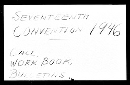 Conventions, seventeenth YWCA of the U.S.A. records, Record Group 11. Microfilmed headquarters files