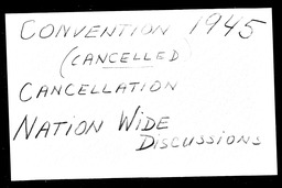 Conventions, cancelled YWCA of the U.S.A. records, Record Group 11. Microfilmed headquarters files