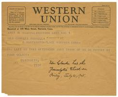 Telegram from Elizabeth Crocker Lawrence to Mrs. Charles Haskell