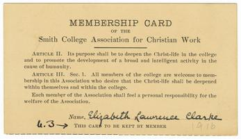 Membership card of the Smith College Association for Christian Work