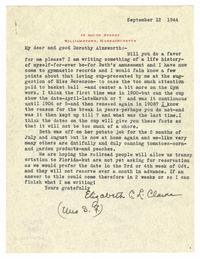 Letter from Elizabeth C. L. Clarke to Dorothy Ainsworth
