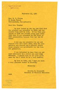 Letter from Dorothy S. Ainsworth (1894-1976)  to Mrs. S. F. Clarke