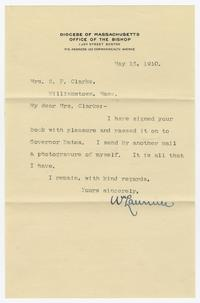 Letter from William Lawrence (1850-1941) to Mrs. Samuel F. Clarke
