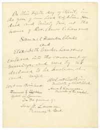 Marriage Certificate of Samuel Fessenden Clarke and Elizabeth Crocker Lawrence