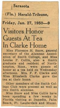 Visitors Honor Guests at Tea in Clarke Home