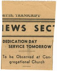 Dedication Day Service Tomorrow