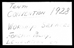 Conventions, tenth YWCA of the U.S.A. records, Record Group 11. Microfilmed central files