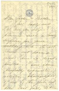 Correspondence from Marjory Gane (class of 1901) to her father, Thomas Gane, and her mother, Sarah Jones