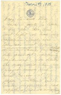 Correspondence from Marjory Gane (class of 1901) to sister, Gertrude Gane (class of 1894)