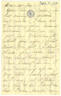 Correspondence from Marjory Gane (class of 1901) to her mother, Sarah Jones