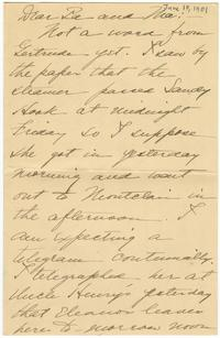 Correspondence from Marjory Gane (class of 1901) to her father, Thomas Gane, and mother, Sarah Jones