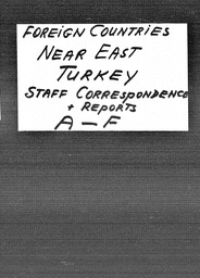 Turkey YWCA of the U.S.A. records, Record Group 11. Microfilmed headquarters files