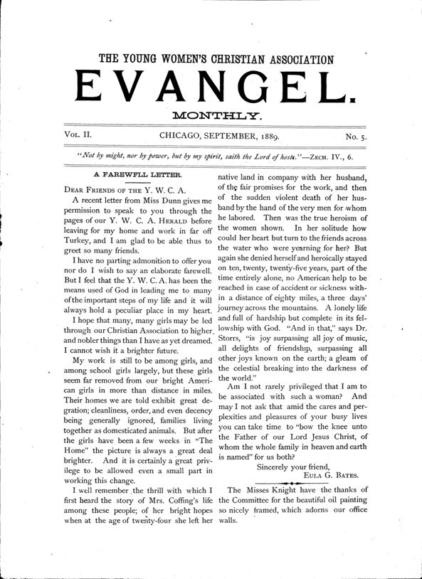 The Young Women's Christian Association evangel