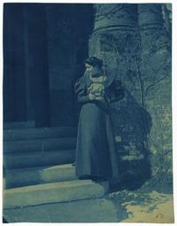 Angel De Cora (Class of 1896) on the steps of College Hall