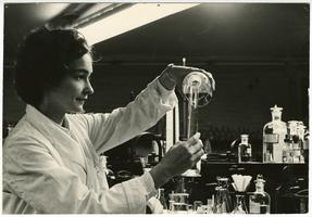 Claire R. Keating (Class of 1967) in science lab