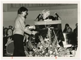 Madeleine M. Will (Class of 1967) receiving the Smith College Medal at Rally Day from Mary Maples Dunn