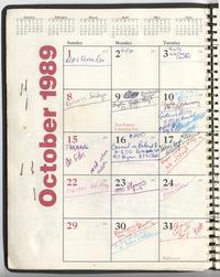 October calendar from Loretta Ross' appointment book
