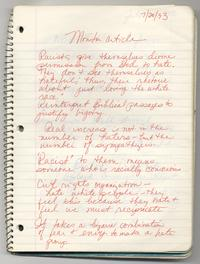 """Monitor Article"", page from Loretta Ross' notebook"