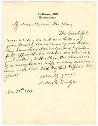 Correspondence from L. Clark Seelye to Mrs. Harris
