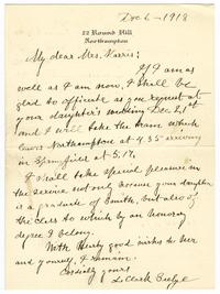 Correspondence from L. Clark Seelye to Hart-Lester Harris (Class of 1913)